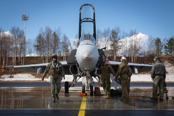 A U.S. Marine Corps F/A-18 Hornet arrives at Rovaniemi Air Base in preparation for Bold Quest 19.1, in Rovaniemi, Finland, May 14, 2019. The U.S. Marine Corps' participation in Bold Quest 19.1 ensures close-air support interoperability and enables the Marine Corps to globally deploy its forces alongside European allies and partners. The aircraft and Marines assigned to Marine Fighter Attack Squadron 251, Marine Aircraft Group 31, 2nd Marine Aircraft Wing.