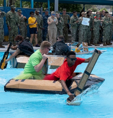 Sailors assigned to Navy Medicine Training Support Command, Defense Health Agency and Navy Medicine Education, Training and Logistics Command completed in a cardboard boat race as part of a Sailor 360 event at the Medicine Education Training Campus at Joint Base San Antonio-Fort Sam Houston. The event was part of Sailor 360, a Navy initiative to develop innovative and creative command-developed leadership programs.