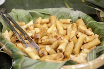 A bowl of Filipino lumpia egg rolls are ready for sharing during an Asian American Pacific Heritage event at the Maj. Gen. Emmett J. Bean Center here June 4, 2019. The U.S. Army Financial Management Command and DFAS teamed up to host the event meant to showcase Asian and Pacific Islander heritage, whit this year's event focused specifically on South Korea and the Philippines.