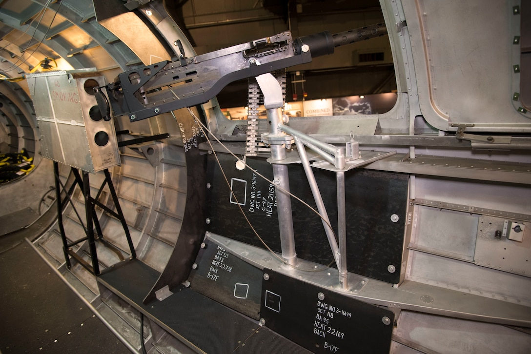 DAYTON, Ohio -- View of the left waist gun position on the Boeing B-17F Memphis Belle on display at the National Museum of the U.S. Air Force on June 3, 2019. (U.S. Air Force photo by Ken LaRock)