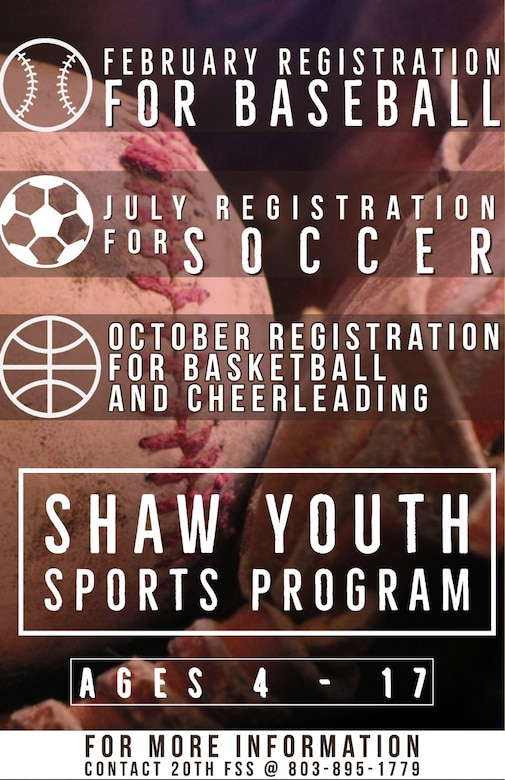 Those interested in coaching or registering a child in a sport, can call Jeremy Taylor, 20th FSS sports director, at 803-895-1779.