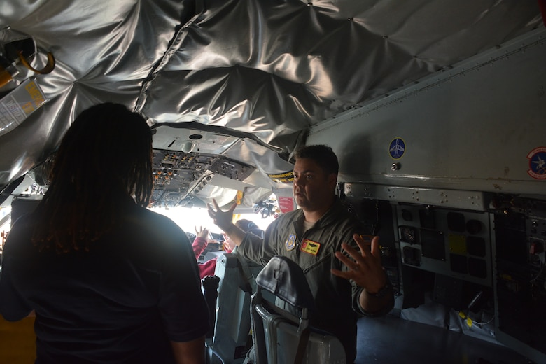 Lt. Col. Cory Glenn, 465th Air Refueling Squadron pilot and ACE Academy coordinator briefs students on the capabilities of an Air Force Reserve KC-135R Stratotanker June 5, 2019. Middle school kids experienced a weeklong immersion in a variety of aviation and aerospace professions. The students received hands-on briefings and tours from pilots operating the KC-135R Stratotanker, F-16 Fighting Falcon and the T-6 Texan II aircraft. (U.S. Air Force Photo by Maj. Jon Quinlan)