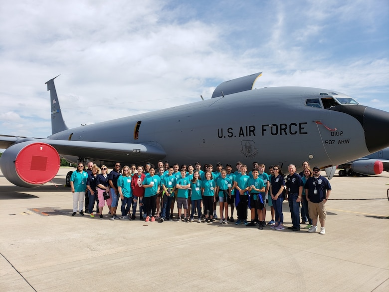 Students from the 2019 Aviation Career Education, or ACE Academy pose in front of a 507th Air Refueling Wing KC-135R Stratotanker, June 5, 2019.  Middle school kids experienced a weeklong immersion in a variety of aviation and aerospace professions. The students received hands-on briefings and tours from pilots operating the KC-135R Stratotanker, F-16 Fighting Falcon and the T-6 Texan II aircraft. (U.S. Air Force Photo by Maj. Jon Quinlan)