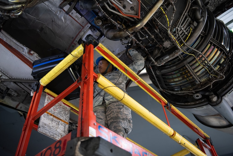 U.S. Air Force Senior Airman Tianda King, 860th Aircraft Maintenance Squadron inspection team member, performs an inspection on a C-17 Globemaster III engine June 3, 2019, at Travis Air Force Base, California. Airmen from Joint Base Lewis-McChord, Washington, and Travis have completed 18 C-17 inspections since February. (U.S. Air Force photo by Tech. Sgt. James Hodgman)