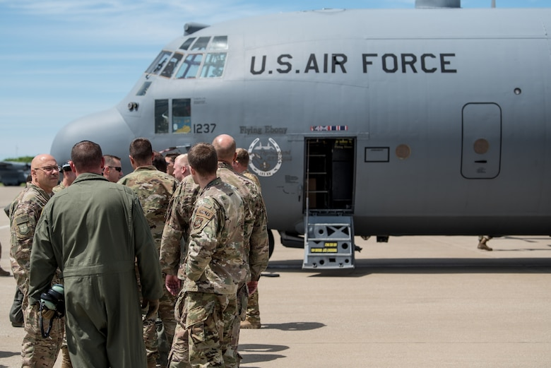 Two C-130 Hercules aircraft and more than 30 Airmen from the Kentucky Air Guard's 123rd Airlift Wing arrive at the Kentucky Air National Guard Base in Louisville, Ky., June 11, 2019, after participating in a week-long event in France for the 75th anniversary of D-Day. The D-Day invasion, formally known as Operation Overlord, turned the tide of World War II in the European theater. (U.S. Air National Guard photo by Staff Sgt. Joshua Horton)