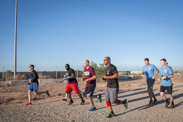 U.S. Marines, Sailors, and civilians participate in the 2019 Enviornmental Earth Day Fun Run on Marine Corps Air Station (MCAS) Yuma, April 26, 2019. The Environmental Earth Day Fun Run is a 5k race held annually bringing awareness to Marines, Sailors, and civilians about the protection of our enviornment. (U.S. Marine Corps photo by Sgt. Allison Lotz)