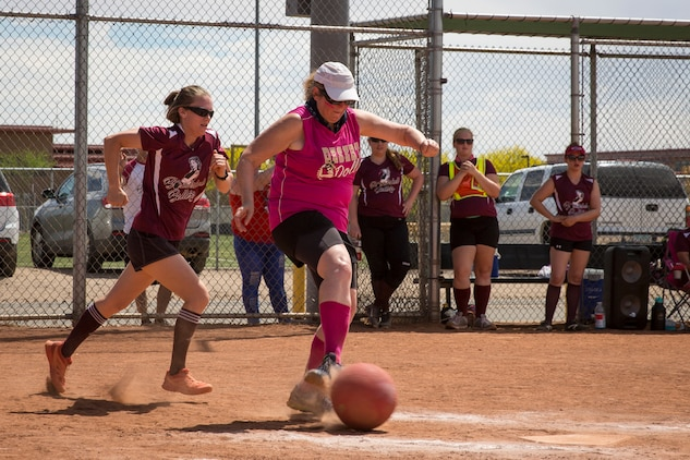 Spouses of U.S. Marines and sailors compete in the Spouses of Yuma Area Kickball Association (SYAKA) tournament on Marine Corps Air Station (MCAS) Yuma April 28, 2019. The purpose of SYAKA is to help spouses network, build camaraderie, while also having fun through physical activity. (U.S. Marine Corps photo by Sgt. Allison Lotz)