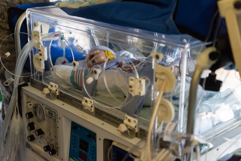 The mannequin of an infant patient lies inside the neonatal transport system during a Neonatal Intensive Care Unit transportation course June 5, 2019, on Kadena Air Base, Japan. The NICU transportation course goes over the roles and responsibilities necessary when transporting an infant patient, what to expect, and what is essential to carry out the mission successfully. (U.S. Air Force photo by Airman 1st Class Cynthia Belío)