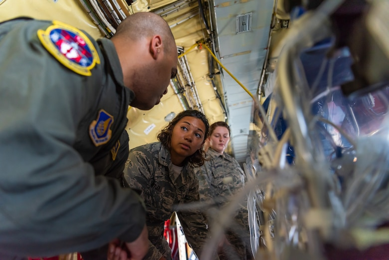 U.S. Air Force 1st Lt. Mackenzie Antley, Neonatal Intensive Care Unit nurse assigned to the 18th Medical Operations Squadron, discusses vital signs during a NICU transportation course June 5, 2019, on Kadena Air Base, Japan. The NICU transportation course goes over the roles and responsibilities necessary when transporting an infant patient, what to expect, and what is essential to carry out the mission successfully. (U.S. Air Force photo by Airman 1st Class Cynthia Belío)