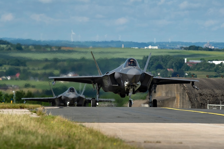 U.S. Air Force F-35A Lightning II fighter aircraft, assigned to the 421st Fighter Squadron, Hill Air Force Base, Utah, taxi on the flightline at Spangdahlem Air Base, Germany, June 11, 2019. Multiple F-35s arrived as part of a Theater Security Package. The aircraft have a unique combination of stealth, speed, and agility, making them some of the best dominance fighters in the world. (U.S. Air Force photo by Airman 1st Class Valerie Seelye)
