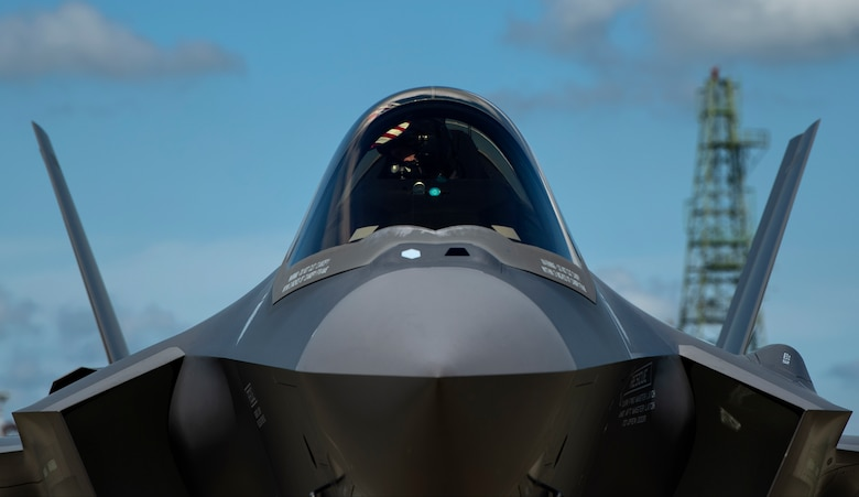 U.S. Air Force Capt. Russell Lee, 421st Fighter Squadron pilot, taxis his F-35A Lightning II fighter aircraft, assigned to the 421st FS from Hill Air Force Base, Utah, on the flightline at Spangdahlem Air Base, Germany, June 11, 2019. Multiple F-35s came to the European theater to train with partner nations as part of a Theater Security Package. Training with NATO aircraft enhances relationships and improves overall coordination with allies. (U.S. Air Force photo by Airman 1st Class Valerie Seelye)
