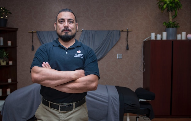 Retired U.S. Army Staff Sgt. Eduardo Duran Jr., a licensed massage therapist, helps services members work through their stressors by connecting their minds back to their bodies through massage at Joint Base Langley-Eustis, Virginia.