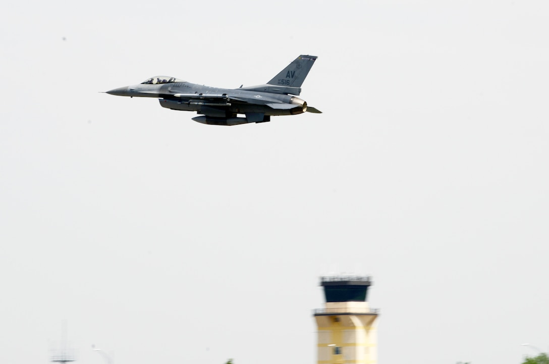 A U.S Air Force F-16 Fighting Falcon from the 510th Fighter Squadron gains altitude at Aviano Air Base, Italy, June 12, 2019. The 510th Fighter Squadron provides combat airpower on demand to U.S. and NATO combatant commanders as well as the National Command Authority in order to meet National Security objectives. (U.S. Air Force photo by Airman 1st Class Ericka A. Woolever).