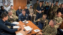 Maj. Gen. Stephen Neary, commanding general, 2nd Marine Expeditionary Brigade (left) and Rear Adm. Brad Skillman, commander, Expeditionary Strike Group 2 (right) conduct a commander's update brief aboard the Blue Ridge-class command and control ship USS Mount Whitney during Exercise Baltic Operation 2019. BALTOPS is the premier annual maritime-focused exercise in the Baltic Region, marking the 47th year of one of the largest exercises in Northern Europe enhancing flexibility and interoperability among allied and partner nations. (U.S. Navy photo by Mass Communication Specialist 1st Class Theodore Green)