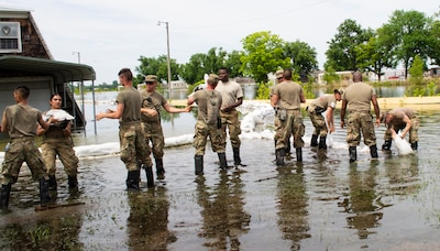 Illinois National Guard Soldiers moving sandbags to build a levee