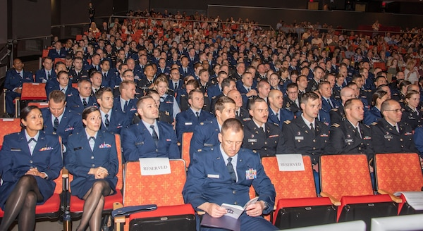 The 2019 San Antonio Uniformed Services Health Education Consortium graduates wait for the ceremony to begin at the Lila Cockrell Theatre in downtown San Antonio June 7. The ceremony honored 228 Army, Air Force, Navy, Public Health and civilian medical education and allied health graduates.