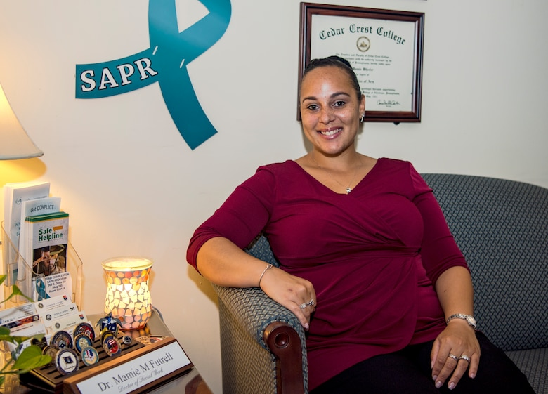 Dr. Mamie Futrell, Joint Base Charleston's sexual assault program manager, sits in her office June 12, 2019.