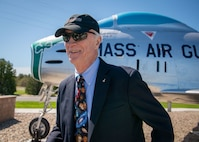 "A North American F-86H Sabre static display was dedicated during a ceremony at Otis Air National Guard Base, Mass. on June 8. The ceremony was held to formally announce the dedication of tail number 31235 in honor of Captain Russell ""Rusty"" L. Schweickart, who was in attendance. Schweickart flew the F-86H Sabre during the early 1960's while assigned to the 101st Tactical Fighter Squadron, and later served as lunar module pilot for Apollo 9, March 3-13, 1969."