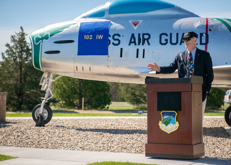 """A North American F-86H Sabre static display was dedicated during a ceremony at Otis Air National Guard Base, Mass. on June 8. The ceremony was held to formally announce the dedication of tail number 31235 in honor of Captain Russell """"Rusty"""" L. Schweickart, who was in attendance. Schweickart flew the F-86H Sabre during the early 1960's while assigned to the 101st Tactical Fighter Squadron, and later served as lunar module pilot for Apollo 9, March 3-13, 1969."""