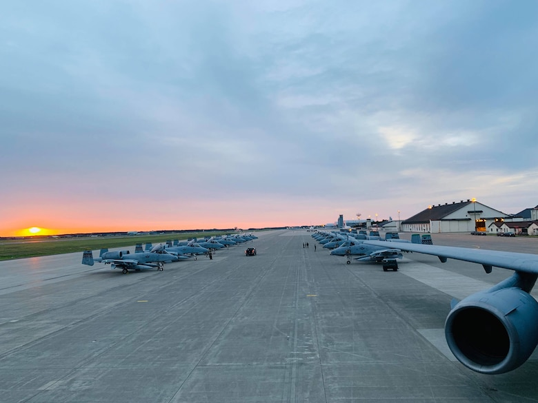 U.S. Air Force A-10 Thunderbolt aircraft line up on the tarmac prior to taking off for Red Flag Alaska 19-2. RF-A is a large-scale exercise headquartered at Eielson Air Force Base, Alaska. The exercise began June 6 and is scheduled to continue through June 21. (U.S. Air Force courtesy photo)
