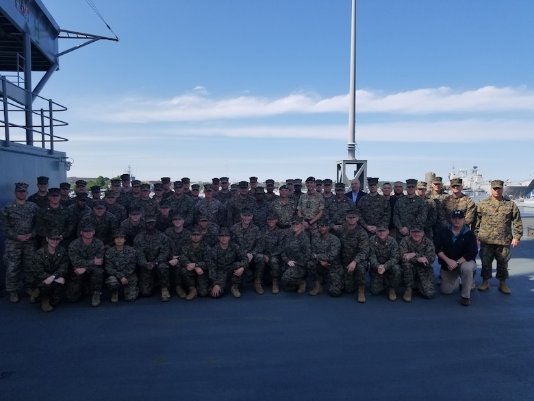 Members of 2nd Marine Expeditionary Brigade pose for a photo before the start of Exercise Baltic Operations 2019 aboard USS Mount Whitney June 7, 2019. BALTOPS is the premier annual maritime-focused exercise in the Baltic Region, marking the 47th year of one of the largest exercises in Northern Europe enhancing flexibility and interoperability among allied and partner nations. (Courtesy Photo)