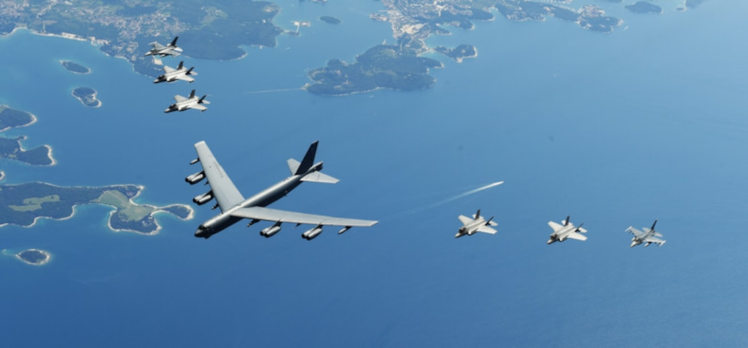 U.S. and Italian Air Forces aircraft consisting of F-35 Lightning IIs, F-16 Fighting Falcons and a B-52 Stratofortress, fly in formation over the Adriatic Sea during exercise Astral Knight 19, June 4, 2019. Astral Knight is an exercise taking place throughout various locations in Europe, involving more than 900 Airmen and supports the collective defense and security of NATO allies and U.S. forces in Europe. (U.S. Air Force photo by Staff Sgt. Joshua R. M. Dewberry)