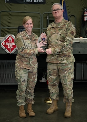 Col. David J. Mounkes, commander of the 123rd Airlift Wing, presents the 2019 Air National Guard Non-Commissioned Officer of the Year Region 3 Award to Staff Sgt. Danielle Blankenship during a ceremony held at the Kentucky Air National Guard Base in Louisville, Ky., May 19, 2019. Blankenship, a logistics plans journeyman for the 123rd Logistics Readiness Squadron, was chosen earlier this year as the Kentucky Guard's Outstanding Airman of the Year in the non-commissioned officer category. (U.S. Air National Guard photo by Master Sgt. Vicky Spesard)
