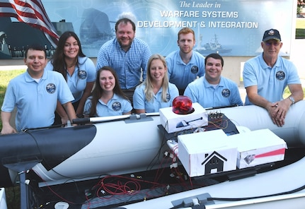 IMAGE: DAHLGREN (June 6, 2019) - The Naval Surface Warfare Center Dahlgren Division (NSWCDD) Sly Fox Mission 25 team and mentors are pictured with a Rigid Hull Inflatable Boat integrated with a hardware representation of PEGASUS – Power and Energy Generation Analysis SimUlation System. The team proved the potential of PEGASUS to integrate electric weapons and electric propulsion systems aboard Navy ships in several demonstrations held at NSWCDD. Left to right in the front row are Daniel Apolinar, Alexa Thomas, Courtney Fredrickson, Peter Corrao and Tony Scaramozzi (mentor). Back row: Marie Zacarias Morro, Thomas Mckelvey (mentor), and Joshua Hellerick.