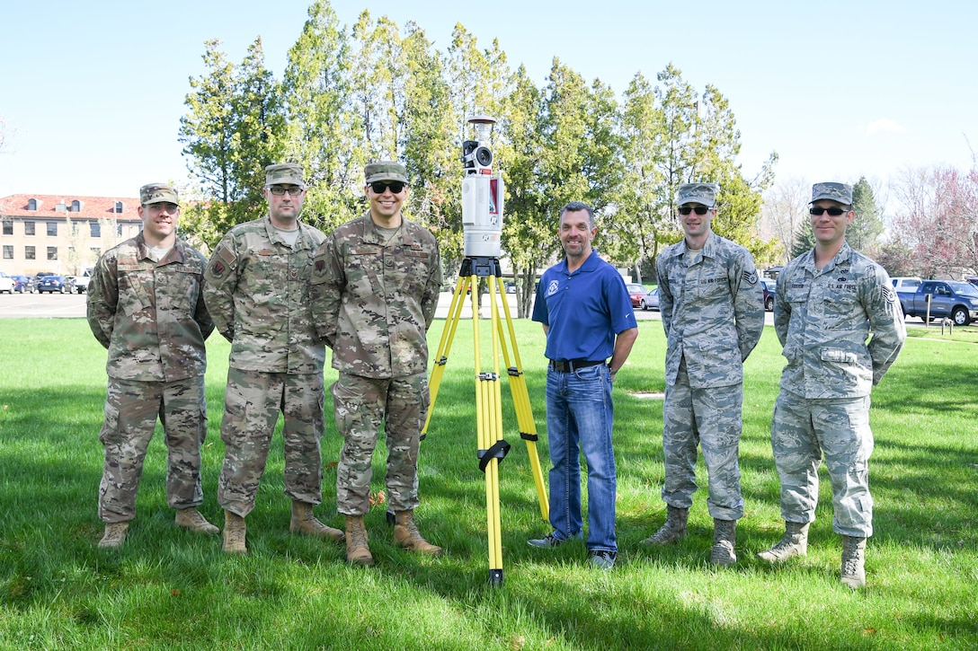 The 84th Radar Evaluation Squadron's Radar Survey Section from left to right: Staff Sgt. Ian Barone, Tech. Sgt. Chris Lange, Tech. Sgt. Adam Borjon, Jason Kaas, Staff Sgt. Austin Marshall, and Staff Sgt. Adam Foster. The team recently received two 3-D terrestrial laser scanners for faster and more accurate surveys around radar sites.(U.S. Air Force photo by Cynthia Griggs)