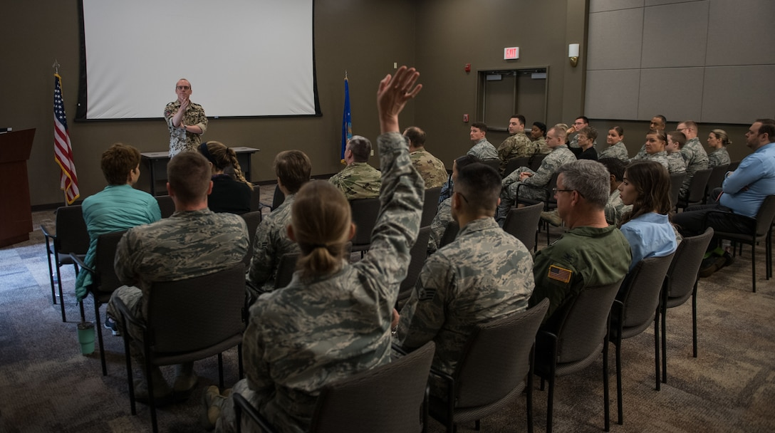 Capt. Eike Selle, officer in the German Reserve Luftwaffe (Air Force) visiting the 932nd Airlift Wing since June 1st, gives an overview of the German Reserves and some comparisons between Germany and United States to a group of Airmen from the 932nd AW,  June 12, 2019, Scott Air Force Base, Illinois. Selle addressed questions about the German Air Force and was asked about the percentage of women in the military.  Women make up roughly 9 percent of  the German military with a higher percent in the Air Force.  (U.S. Air Force photo by Christopher Parr)
