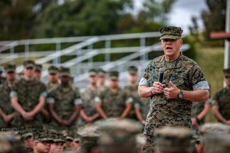 Commandant of the Marine Corps Gen. Robert. B. Neller addresses Marines at the School of Infantry West aboard Marine Corps Base Camp Pendleton, Calif., May 8, 2019.