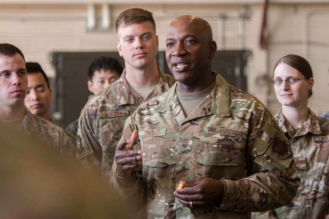 Chief Master Sergeant of the Air Force Kaleth O. Wright speaks to Airmen during his visit at the Red Flag-Alaska building, Joint Base Elmendorf-Richardson, Alaska, June 10, 2019. Chief Wright visited JBER during Red Flag-Alaska to meet with senior enlisted leader counterparts from throughout the Pacific. Red Flag-Alaska is a Pacific Air Forces-directed exercise that allows U.S. forces to train with coalition partners in a simulated environment.