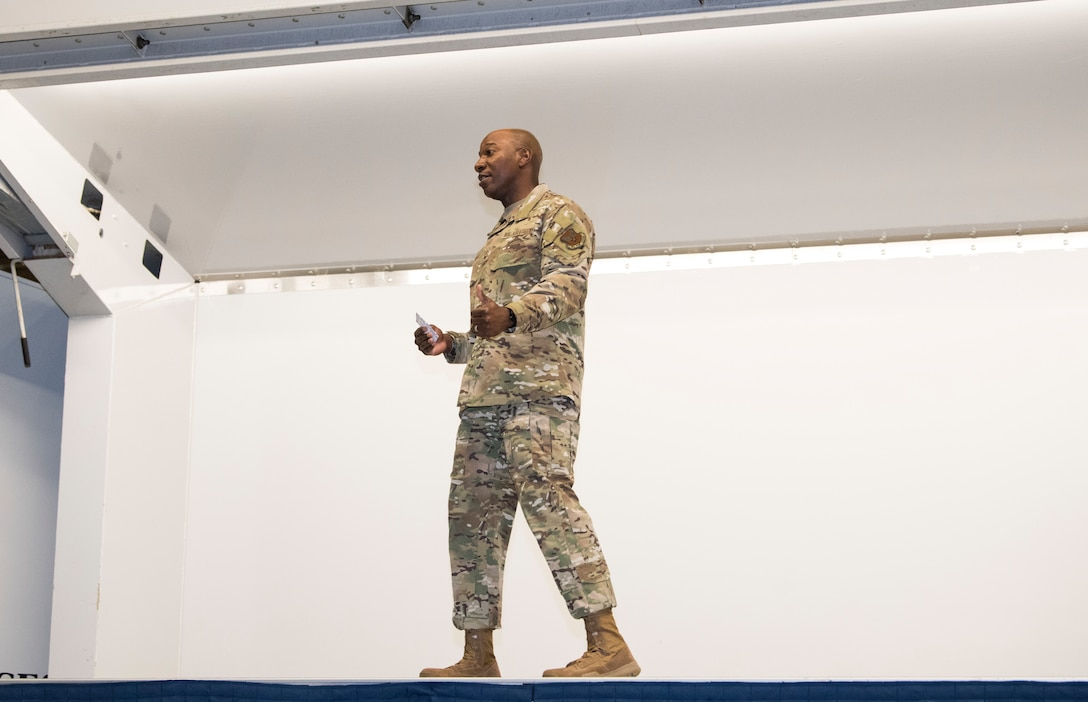 Chief Master Sergeant of the Air Force Kaleth O. Wright talks to members of Joint Base Elmendorf-Richardson, Alaska, during an all call June 10, 2019. Chief Wright visited JBER during RED FLAG-Alaska 19-2 to meet with his senior enlisted leader counterparts from throughout the Pacific. RED FLAG-Alaska is a Pacific Air Forces-directed exercise that allows U.S. forces to train with coalition partners in a simulated combat environment.