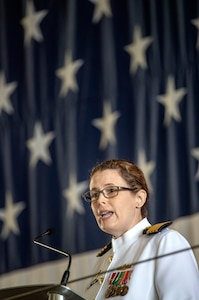 Capt. Dianna Wolfson, new Puget Sound Naval Shipyard & Intermediate Maintenance Facility commander, addresses the audience at the PSNS & IMF change of command ceremony June 12. Wolfson relieved Capt. Howard Markle at the ceremony.