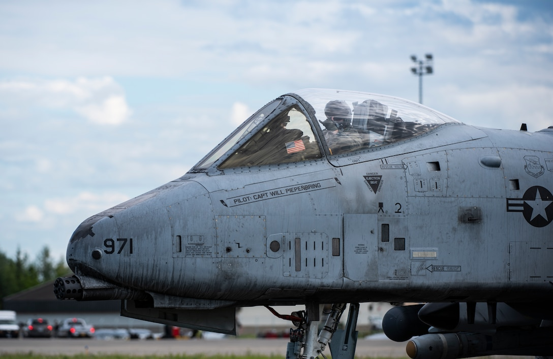 An A-10 Thunderbolt II from the 25th Fighter Squadron, Osan Air Base, Republic of Korea, taxis at Eielson Air Force Base, Alaska, June 10, 2019. The 25th traveled from Korea to participate in Red Flag-Alaska, a large-scale training exercise, with units and allied nation's air forces from around the Pacific. (U.S. Air Force photo by Senior Airman Stefan Alvarez)