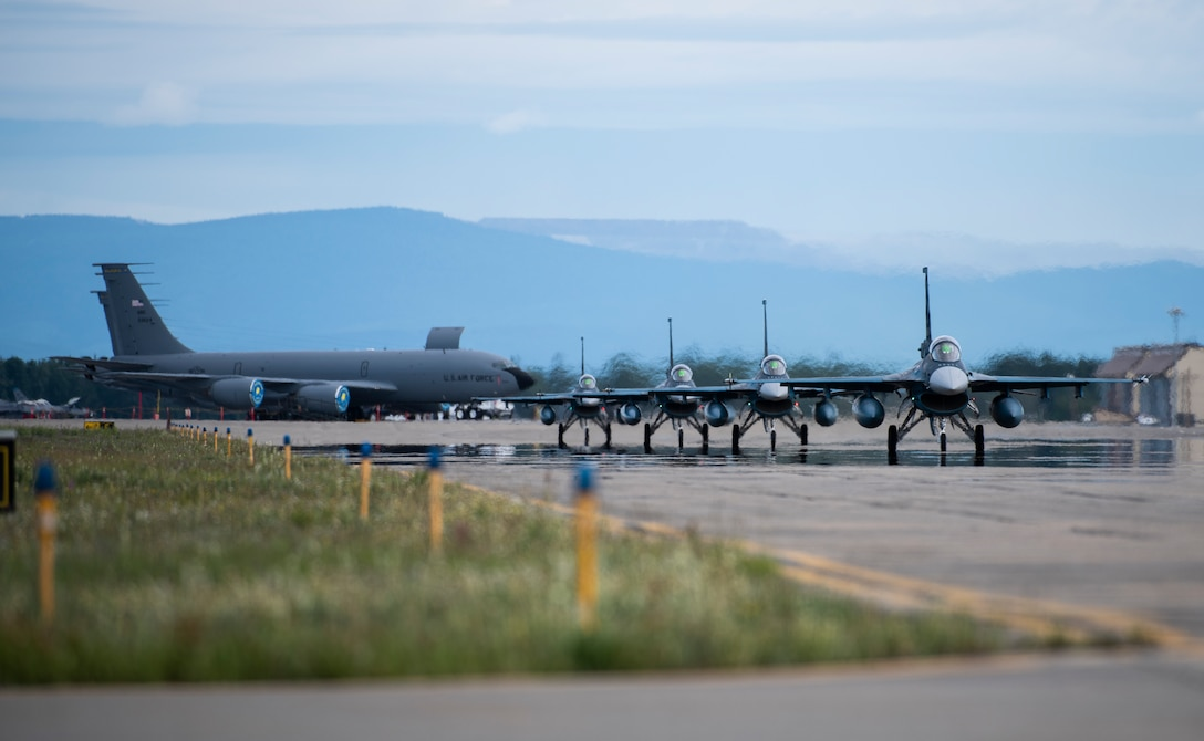 Japan Air Self-Defense Force F-2s from the 3rd Air Wing, Misawa Air Base, Japan, taxi down the runway at Eielson Air Force Base, Alaska, June 10, 2019. The 3rd Wing is participating in Red Flag-Alaska, a large-scale training exercise, with units and allied nations' air forces from around the Pacific. (U.S. Air Force photo by Senior Airman Stefan Alvarez)