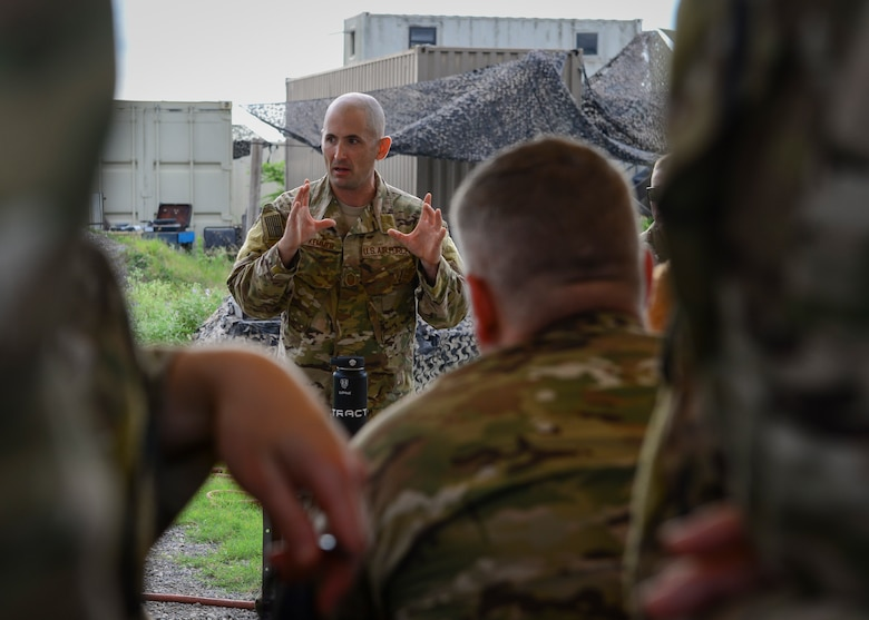 Air Force Senior Master Sgt. Brian Kemmer, 66th Training Squadron, Det. 3. superintendent, addresses special operations recruiters from the 330th Recruiting Squadron before an immersion at Joint Base San Antonio-Lackland, June 3, 2019. Survival, Evasion, Resistance and Escape (SERE) cadre from are responsible for both the four-day Evasion and Conduct After Capture Course and the 15-day SERE Specialist Training Orientation Course at Joint Base San Antonio-Lackland. ECAC was the first stop for recruiters from the 330th RCS who travelled from across the United States to attend this biannual squadron training intended to immerse recruiters into SERE training  in order for them to be better able  to recruit Air Force SERE candidates.