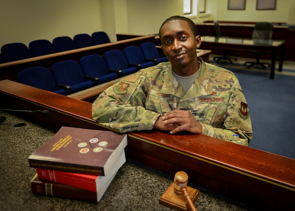 U.S. Air Force Capt. Jheremy Perkins, 31st Fighter Wing assistant staff judge advocate, poses for a photo, Aviano Air Base, Italy, June 11, 2019. Perkins studied law before deciding to join the military. (U.S. Air Force photo by Staff Sgt. Rebeccah Woodrow)
