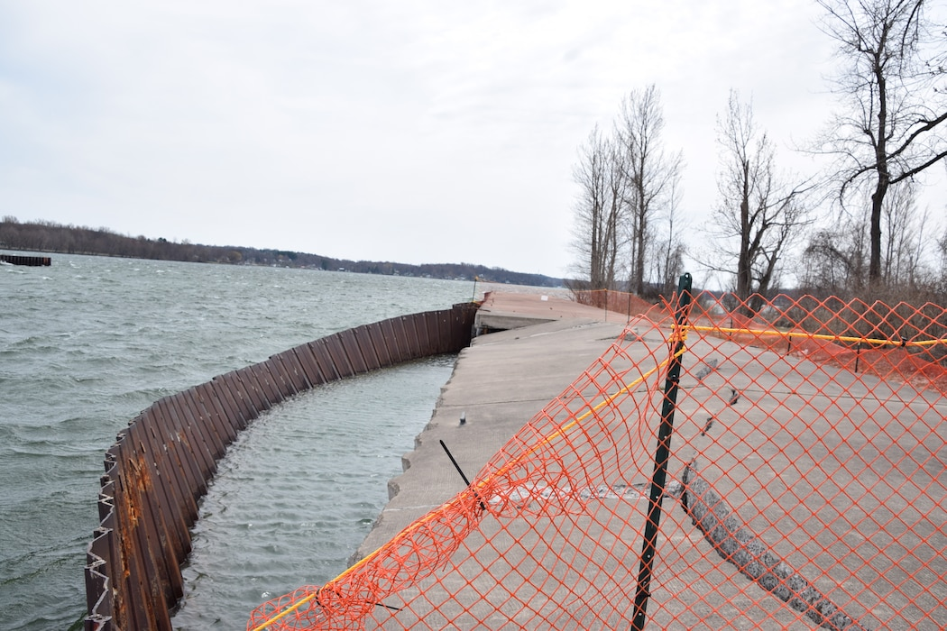 The U.S. Army Corps of Engineers, Buffalo District awarded approximately $135,000 on a contract to temporarily secure the damaged sheet pile along the west pier in Little Sodus Bay, located in the Village of Fair Haven, New York, June 11, 2019.