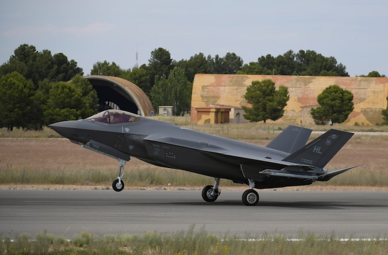 A U.S. F-35A Lightning II aircraft lands at Los Llanos Air Base, Spain.