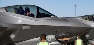 U.S. pilot seen in F-35A aircraft preparing for flight.