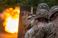 U.S. Marines with 2nd Combat Engineer Battalion, currently attached to 3rd Battalion, 6th Marine Regiment, currently assigned to 4th Marine Regiment, 3rd Marine Division under the Unit Deployment Program, stand behind a wooden shield during an urban-breaching range on Exercise Fuji Viper, at Combined Arms Training Center, Camp Fuji, June 11, 2019. Marines train in urban-breaching to increase proficiency in house-to-house style fighting.
