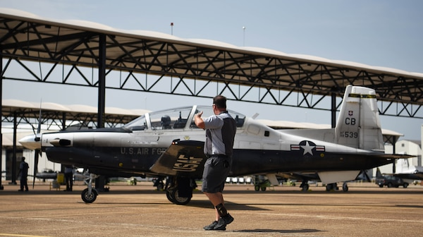 A T-6 Texan II taxis for takeoff at Columbus Air Force Base, Mississippi, July 2, 2018. The Air Force is looking at ways to procure hardware upgrades like the enhanced On-Board Oxygen Generating Systems, or OBOGS, faster and smarter, increase basic science and research and collect and apply new research data into acquisitions standards to properly address the broader issue of physiological events that cuts across all manned aviation.