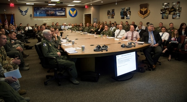 Attendees from both in and outside the Department of Defense listen to a briefing on the T-6 On-Board Oxygen Generating Systems, or OBOGS, during a conference at Joint Base San Antonio-Randolph May 29-30. During the conference, machine and human aspects of the problem were discussed, as well as the human-machine interface as part of the on-going effort to improve the safety of the OBOGS.