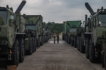 U.S. Marines with 2nd Transportation Support Battalion, Combat Logistics Regiment 2, 2nd Marine Logistics Group, clean the inside of vehicles while staged to be loaded on to the USNS Watkins (T-AKR-315) during exercise Resolute Sun at Joint Base Charleston, South Carolina, June 11, 2019. Marines participated in the exercise to increase major combat operational readiness in amphibious and prepositioning operations while conducting joint training with the U.S. Army during a joint logistics over the shore scenario. (U.S. Marine Corps photo by Lance Cpl. Scott Jenkins)