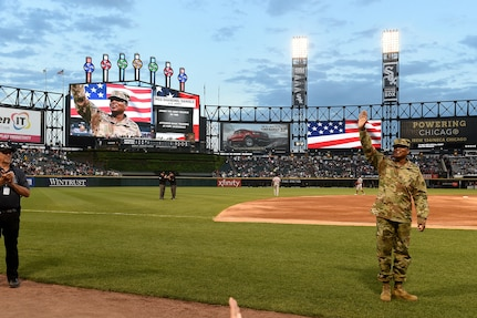 Master Sgt. Shandrel Daniels receives an honor during the Chicago White Sox vs Washington Nationals game at Guaranteed Rate Field, June 11, 2019.