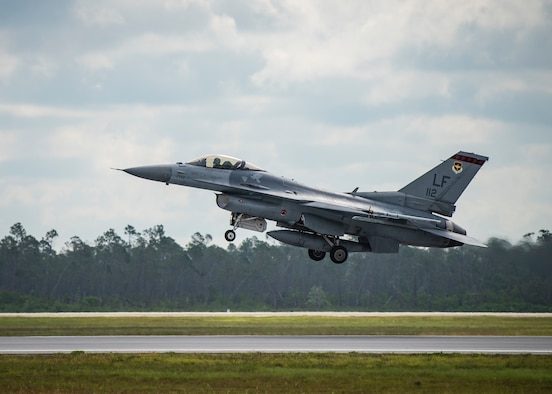 A Republic of Singapore air force F-16 Fighting Falcon fighter aircraft assigned to the 425th Fighter Squadron, Luke Air Force Base, Arizona, takes part in Combat Archer June 10, 2019, on the flightline at Tyndall Air Force Base, Florida. Combat Archer, also known as the Weapons Systems Evaluation Program, is the Department of Defense's largest air-to-air live-fire evaluation exercise. (U.S. Air Force photo by Airman 1st Class Bailee A. Darbasie)