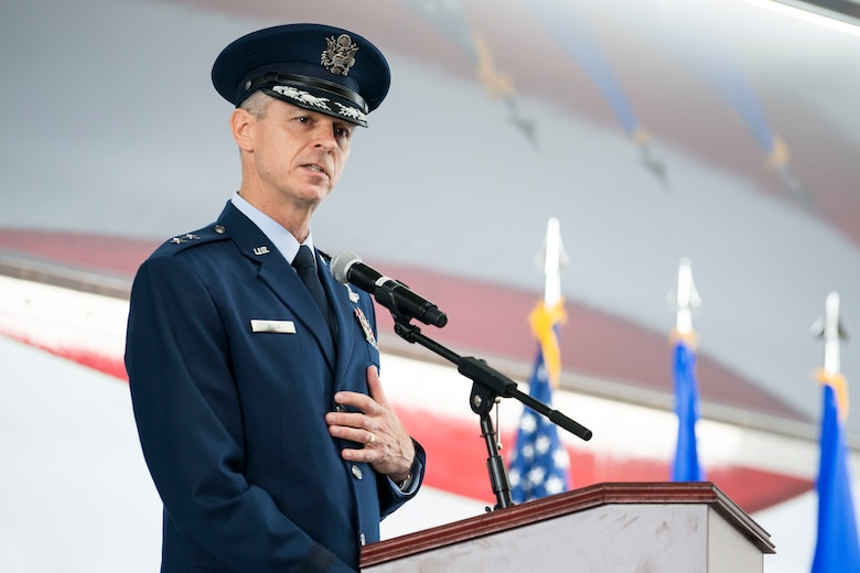 Maj. Gen. Craig Wills, 19th Air Force commander, addresses the men and women of the 19th Air Force for the first time as their commander during a change of command ceremony June 13, 2019, at Joint Base San Antonio-Randolph, Texas. Wills was previously the deputy chief of the Office of Security Cooperation-Iraq.  He is a command pilot with more than 2,500 hours of flying time, primarily in the F-15C and F-15E. (U.S. Air Force photo by Sean M. Worrell)