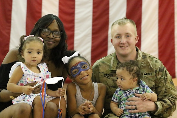 Spc. Zachary Cross, 1st Battalion, 67th Armor Regiment, reunites with his Family June 7, 2019, at Fort Bliss, Texas, following a nine-month tour in the Republic of Korea.