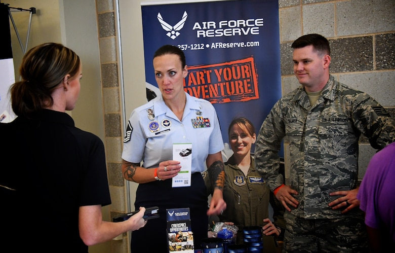 Recruiters Master Sgt. Brittany Paus and Staff Sgt. Justin Palmer along with public affairs staff from the 932nd Airlift Wing joined the Military Career Fair in Saint Louis on June 13, 2019. There were multiple employers from all types of career fields on hand to provide veterans with potential employment opportunities, including Citizen Airmen traditional reservist positions at the 932nd AW.  (U.S. Air Force photo by Lt. Col. Stan Paregien)